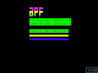 Title screen of the game Space Destroyers on APF Electronics Inc. APF-MP1000