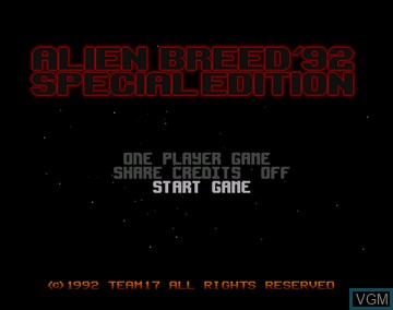 Title screen of the game Alien Breed Special Edition '92 on Amiga CD32