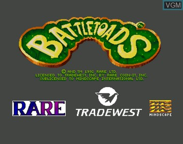 Title screen of the game Battletoads on Amiga CD32