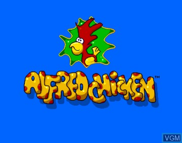 Title screen of the game Alfred Chicken on Amiga CD32