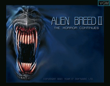 Title screen of the game Alien Breed 2 - The Horror Continues on Amiga CD32