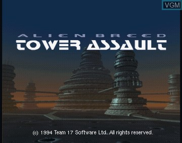 Title screen of the game Alien Breed - Tower Assault on Amiga CD32