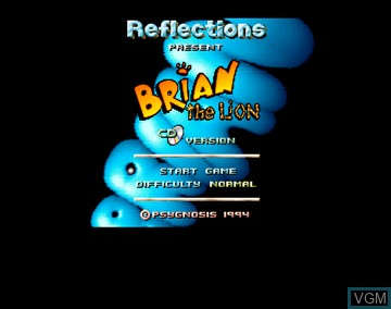 Title screen of the game Brian the Lion on Amiga CD32