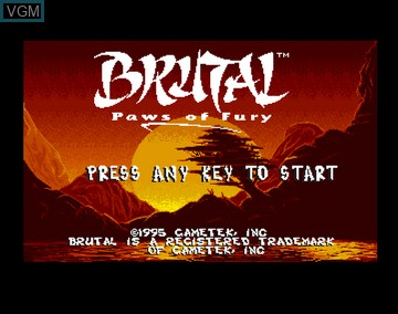 Title screen of the game Brutal - Paws of Fury on Amiga CD32