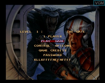 Menu screen of the game Alien Breed 3D on Amiga CD32