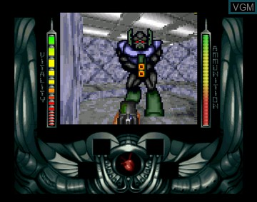 In-game screen of the game Alien Breed 3D on Amiga CD32