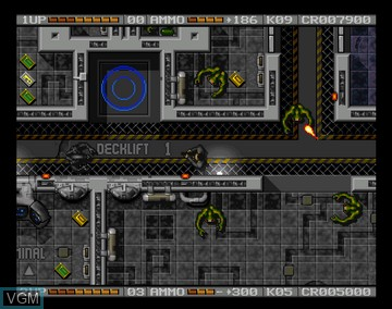 In-game screen of the game Alien Breed 2 - The Horror Continues on Amiga CD32