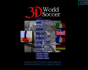 Title screen of the game 3D World Soccer on Commodore Amiga