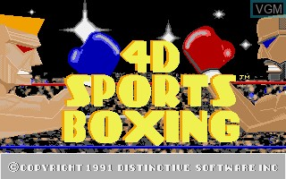 Title screen of the game 4D Sports Boxing on Commodore Amiga