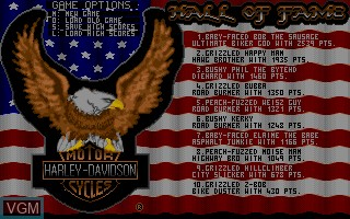 Title screen of the game Harley-Davidson - The Road to Sturgis on Commodore Amiga