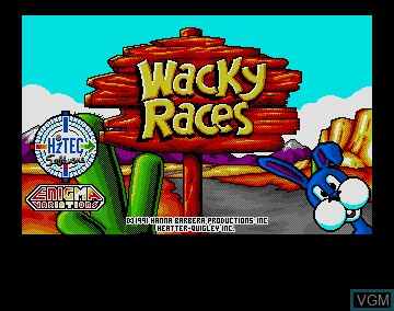 Title screen of the game Wacky Races on Commodore Amiga