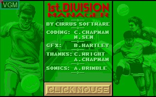 Title screen of the game 1st Division Manager on Commodore Amiga