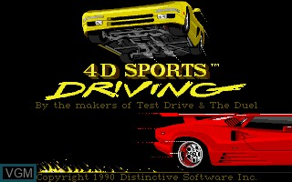 Title screen of the game 4D Sports Driving on Commodore Amiga
