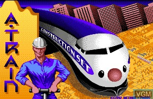 Title screen of the game A-Train Construction Set on Commodore Amiga