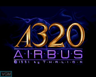 Title screen of the game A320 Airbus on Commodore Amiga
