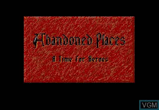 Title screen of the game Abandoned Places - A Time for Heroes on Commodore Amiga