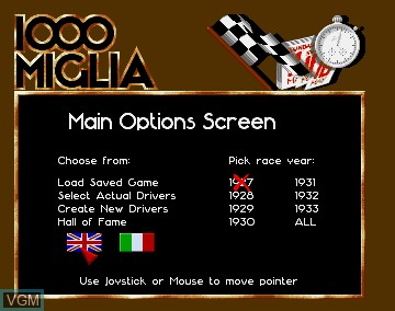 Menu screen of the game 1000 Miglia on Commodore Amiga