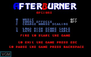 Menu screen of the game After Burner on Commodore Amiga