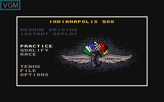Menu screen of the game Indianapolis 500 - The Simulation on Commodore Amiga