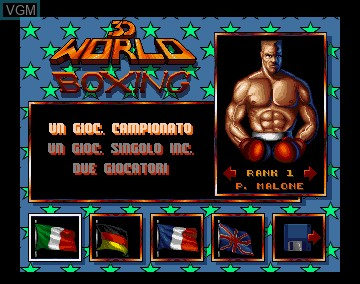 Menu screen of the game 3D World Boxing on Commodore Amiga