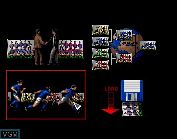 Menu screen of the game 3D World Soccer on Commodore Amiga
