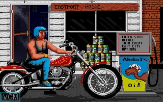 Menu screen of the game Harley-Davidson - The Road to Sturgis on Commodore Amiga