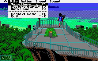 Menu screen of the game Leisure Suit Larry 3 - Passionate Patti in Pursuit of the Pulsating Pectorals on Commodore Amiga