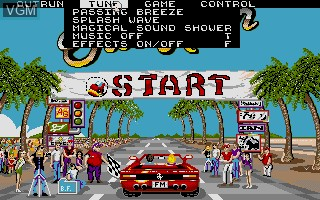 Menu screen of the game Out Run on Commodore Amiga