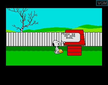 Menu screen of the game Snoopy and Peanuts - The Case of the Lost Blanket on Commodore Amiga