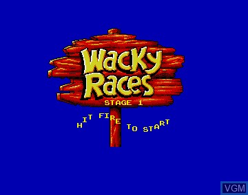 Menu screen of the game Wacky Races on Commodore Amiga