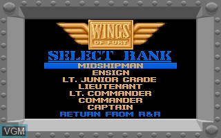 Menu screen of the game Wings of Fury on Commodore Amiga