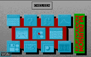 Menu screen of the game 1st Division Manager on Commodore Amiga