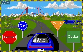 Menu screen of the game 4D Sports Driving on Commodore Amiga