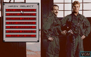 Menu screen of the game A-10 Tank Killer on Commodore Amiga