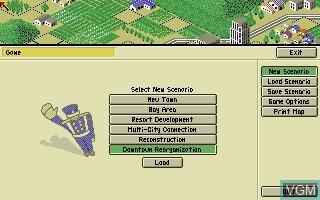 Menu screen of the game A-Train on Commodore Amiga