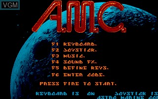 Menu screen of the game A.M.C. - Astro Marine Corps on Commodore Amiga