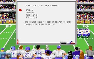 Menu screen of the game ABC Monday Night Football on Commodore Amiga