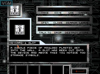 Menu screen of the game Abduction on Commodore Amiga