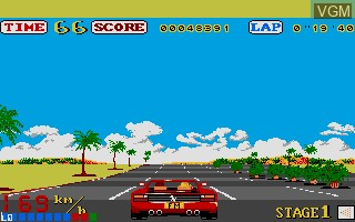 In-game screen of the game Out Run on Commodore Amiga