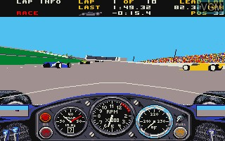 In-game screen of the game Indianapolis 500 - The Simulation on Commodore Amiga