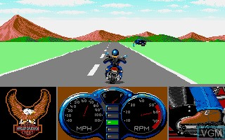 In-game screen of the game Harley-Davidson - The Road to Sturgis on Commodore Amiga