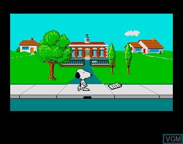 In-game screen of the game Snoopy and Peanuts - The Case of the Lost Blanket on Commodore Amiga