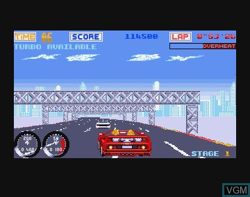 In-game screen of the game Turbo Out Run on Commodore Amiga