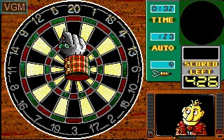 In-game screen of the game Wacky Darts on Commodore Amiga