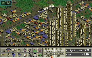 In-game screen of the game A-Train on Commodore Amiga