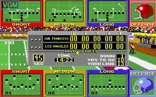 In-game screen of the game ABC Monday Night Football on Commodore Amiga