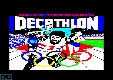 Title screen of the game Daley Thompson's Decathlon on Amstrad CPC