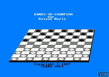 Title screen of the game Dames 3D Champion on Amstrad CPC