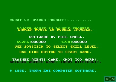 Title screen of the game Danger Mouse In Double Trouble on Amstrad CPC