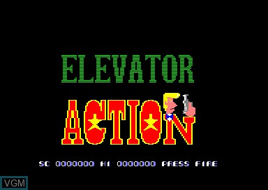 Title screen of the game Elevator Action on Amstrad CPC